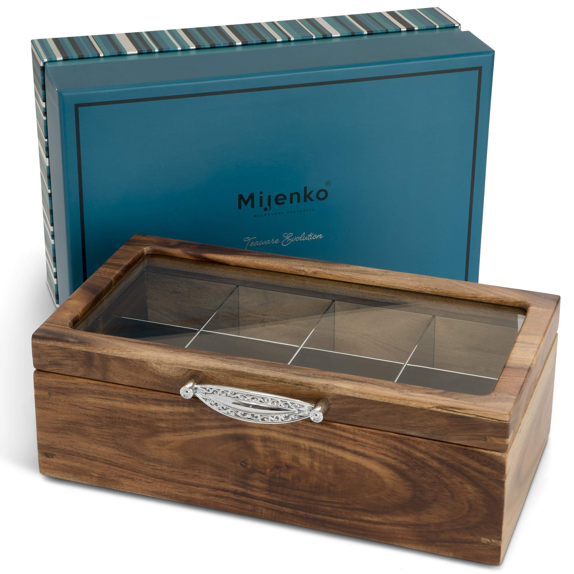 Galleon Mijenko Wooden Tea Box Mothers Day Chest With Glass Lid