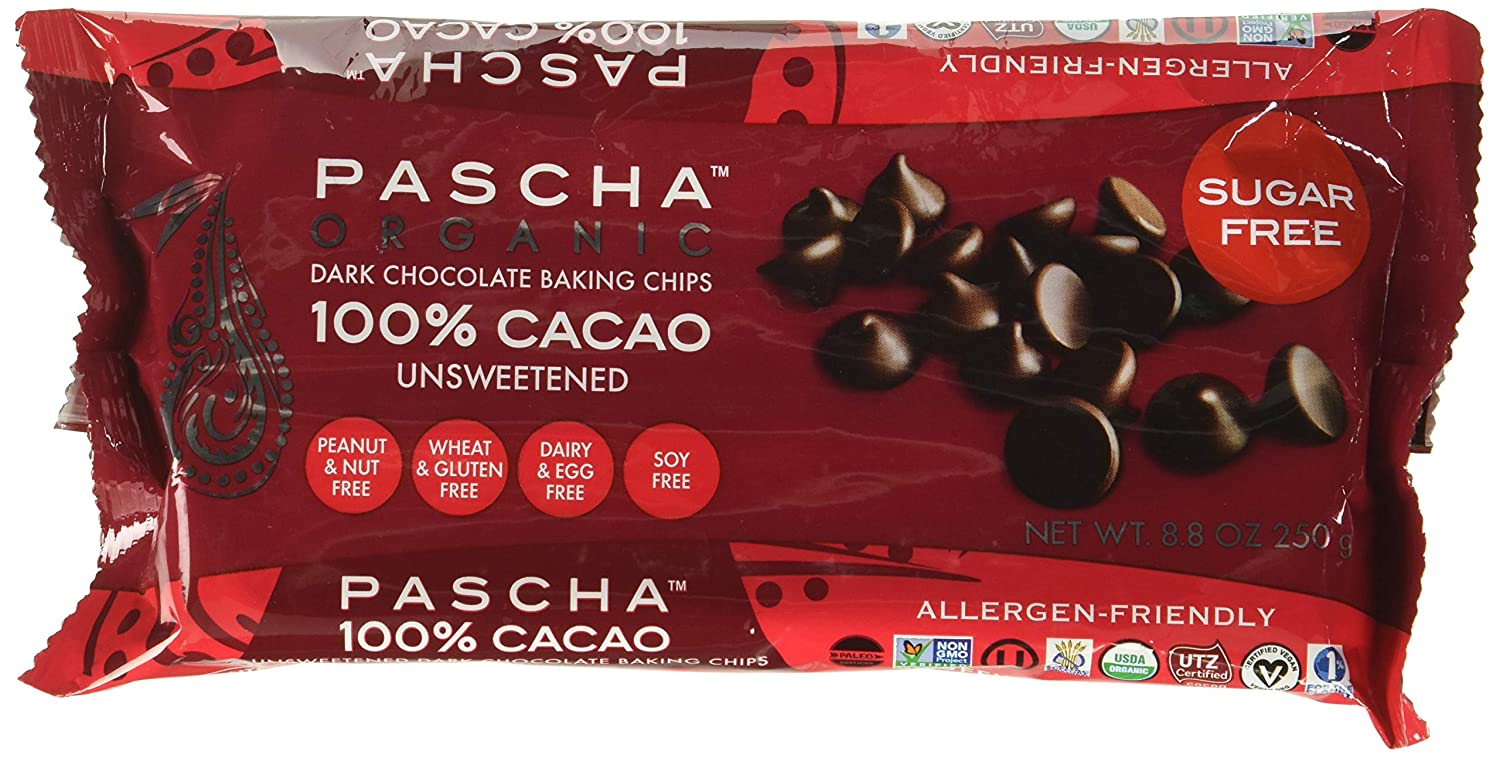 PASCHA Organic Dark Chocolate Baking Chips - 100% Cacao, Unsweetened