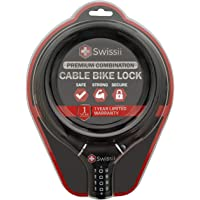 Swissii Combination Cable Bike Lock - Heavy Duty, Perfect for Bicycles, Scooters & Strollers - Quality Construction, 12…