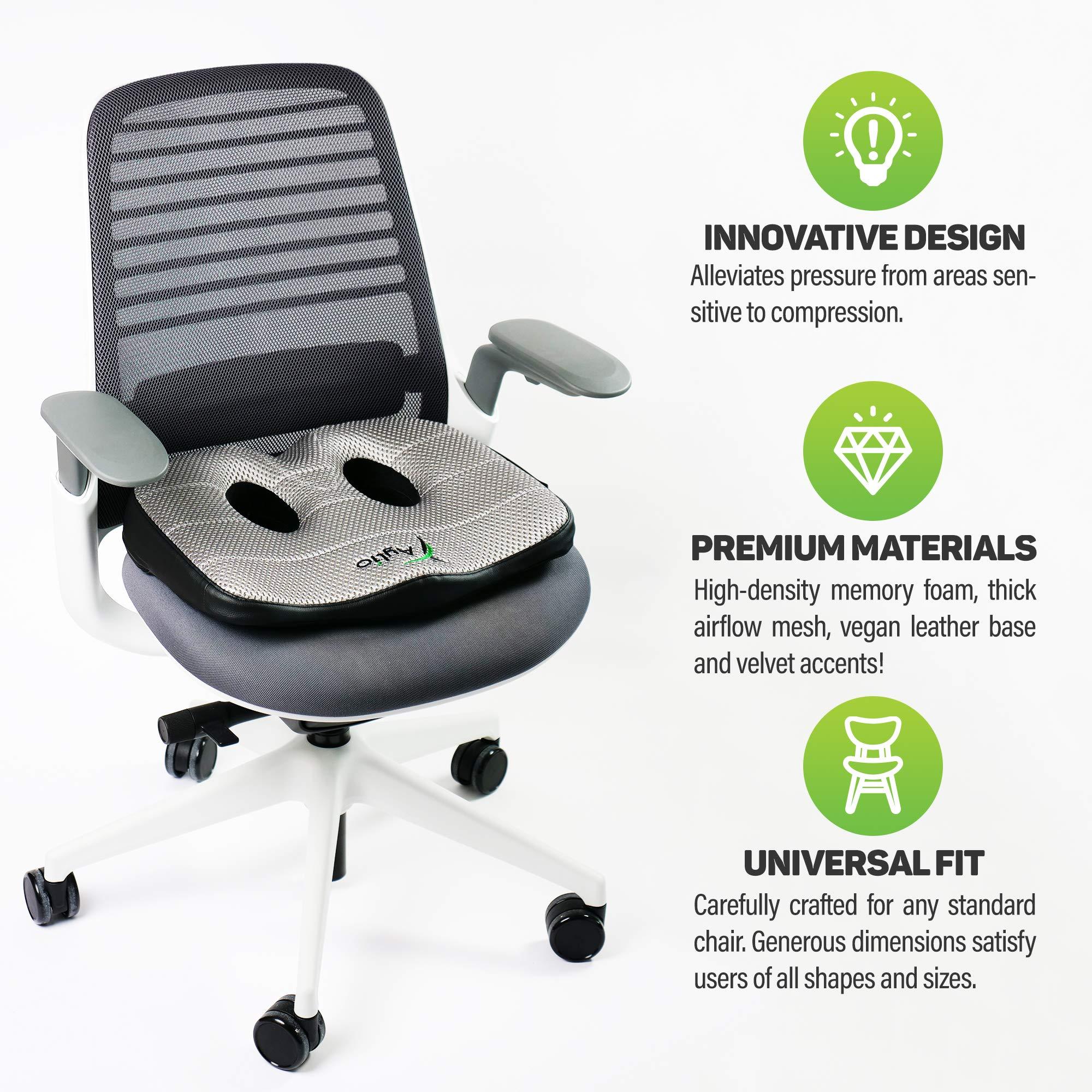 Socket Seat Memory Foam Sit Bone Relief Cushion For Butt Lower Back Hamstrings Hips Ischial Tuberosity