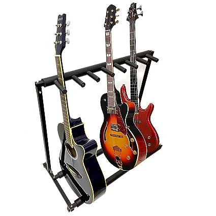 7 Guitarra Negro metal acolchado plegable Stand, guitarra acústica y eléctrica portátil Etapa Accesorio de