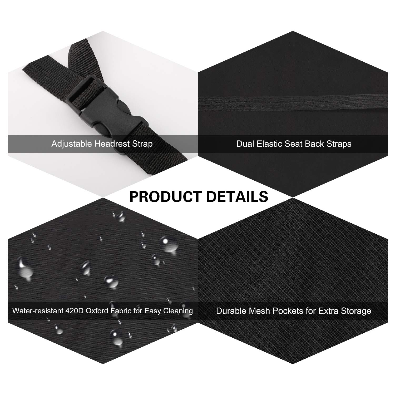 Black 2 Pack Universal Car Anti-Kick Mat Cover with Back Seat Organizer Pockets Storage MoKo Car Kick Mat Backseat Protector Wear-Resistant /& Dirt-Proof