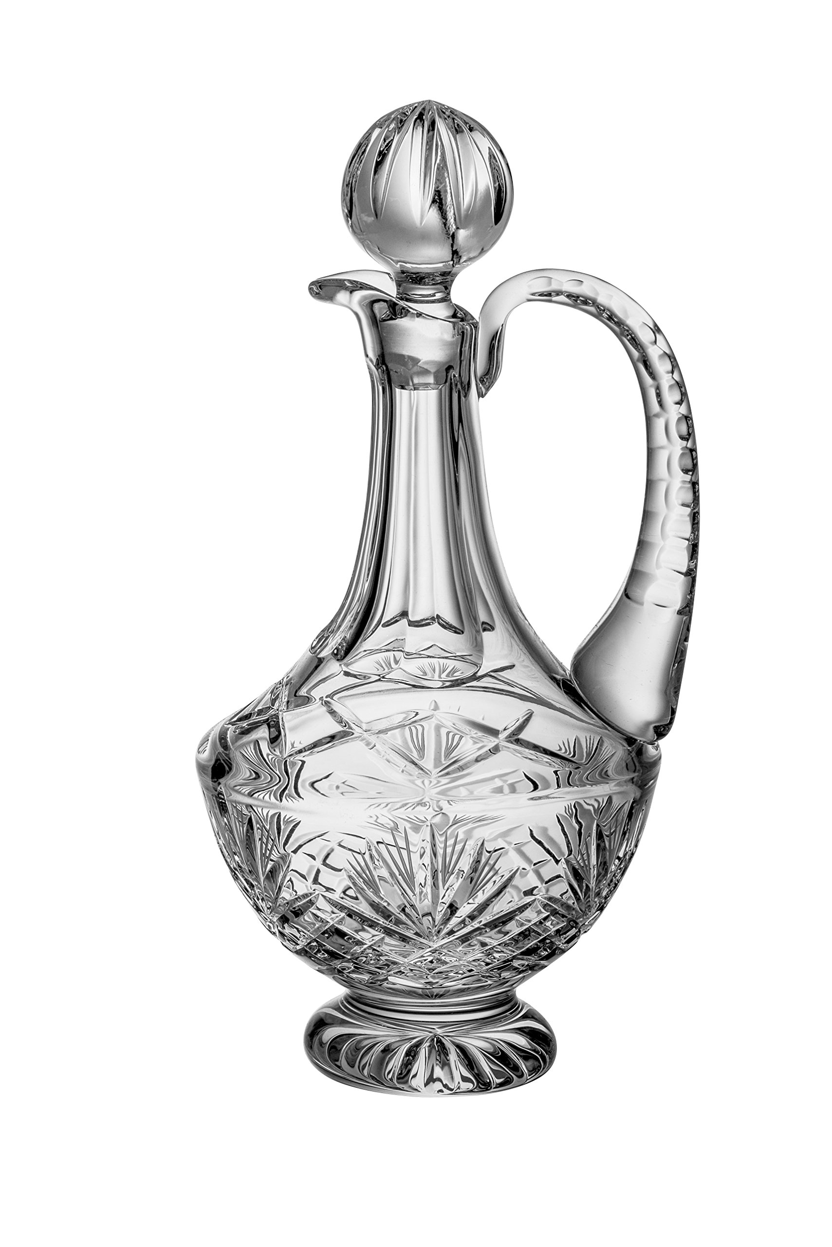 Barski - Hand Cut - Mouth Blown - Crystal - Footed Decanter - With Handle - Majestic Design - 38 oz. - Made in Europe