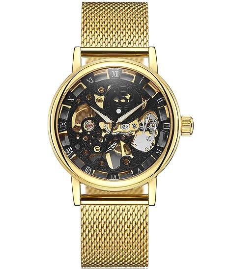 SEWOR Reloj para Hombre Hueca Tallado de Esqueleto mecánico Mano Viento Reloj de Pulsera con Banda de Malla (Oro Negro2): Amazon.es: Relojes