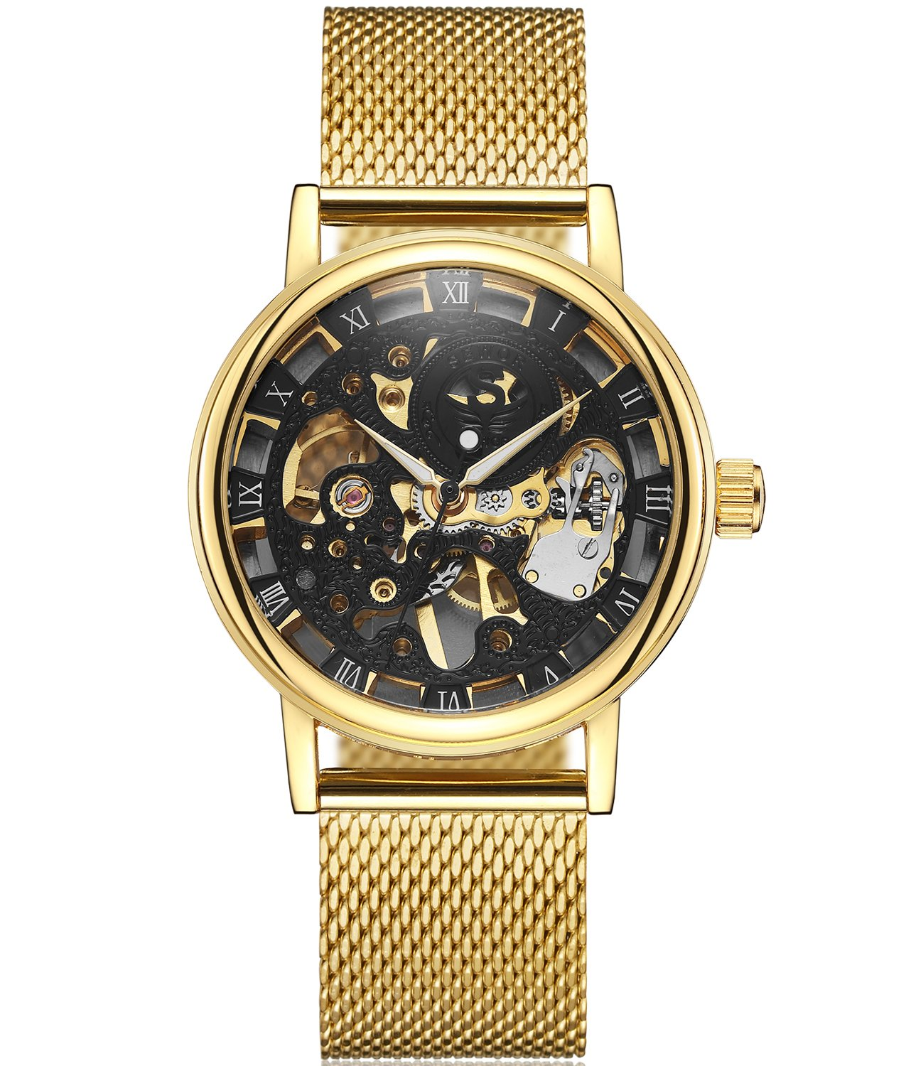 SEWOR Dress Royal Hollow Carving Mechanical Hand Wind Wrist Watch for Man with Mesh Steel Band Slim Design 3