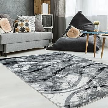 Carpet City Teppich Modern Designer Wohnzimmer Schlafzimmer Läufer  Inspiration Banderol Welle Grau Creme Neu, Größe