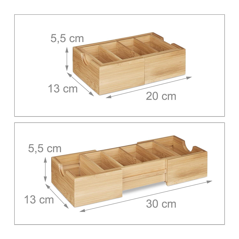 Relaxdays 10020334 Schedario con Scompartimenti Estraibili Bamb/ú 30x13x5.5 cm Marrone Chiaro