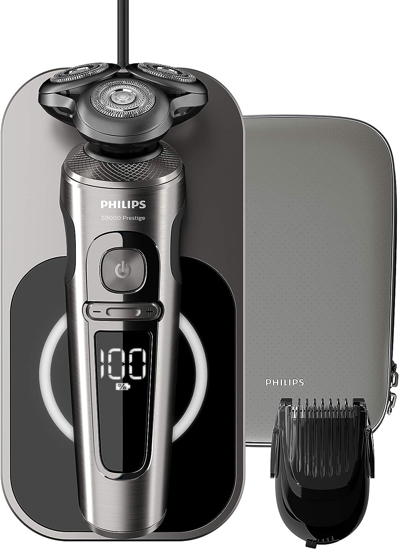 Philips Serie 9000 Prestige SP9860/16 - Afeitadora eléctrica para hombre con bandeja de carga Qi, sensor de densidad de barba, 3 modos, seco/húmedo, con perfilador de barba y funda premium, gris