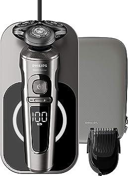 Philips Serie 9000 Prestige SP9860/16 - Afeitadora eléctrica para hombre con bandeja de carga Qi, sensor de densidad de barba, 3 modos, seco/húmedo, con perfilador de barba y funda premium, gris: Amazon.es: