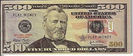 500 Dollar Bills Best Novelty Movie Prop Fake REAL LOOKING Play Money X20