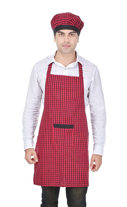 Switchon Red And Black Chefs Apron With Cap For Home Hotel And Restaurants