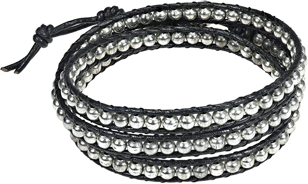 AeraVida Mystique Black Fashion Crystal Five Brown Leather Wrap Bracelet