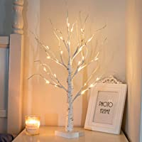 """PEIDUO 24"""" 2FT 24LT Lighted Birch Tree Battery Powered Timer Warm White LED Artificial Branch Tree for Home Party…"""