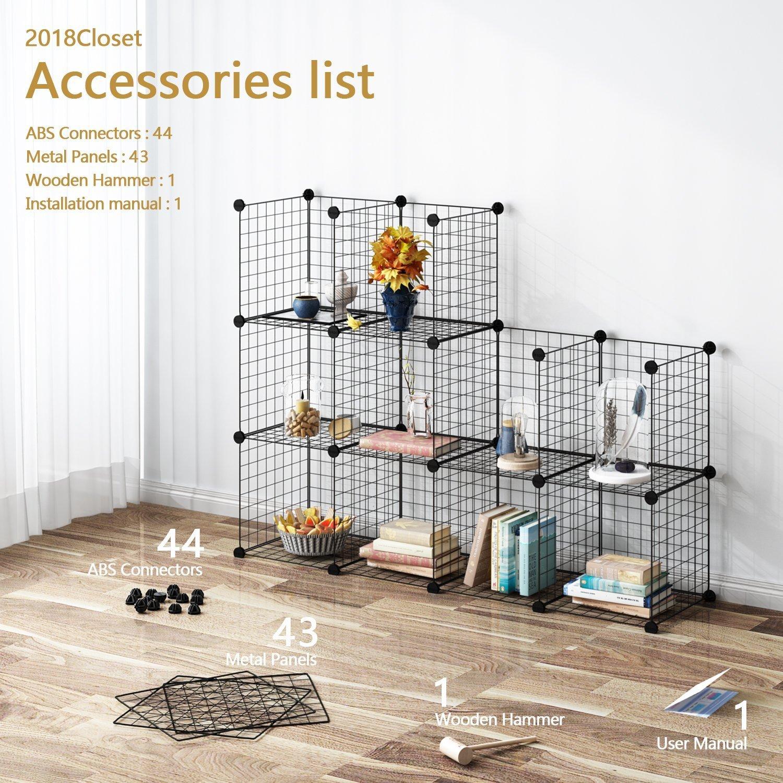 Tespo Wire Storage Cubes Modular Shelving Unit DIY Metal Grid Closet Organizer System, Bookcase, Cabinet 12 Cubes