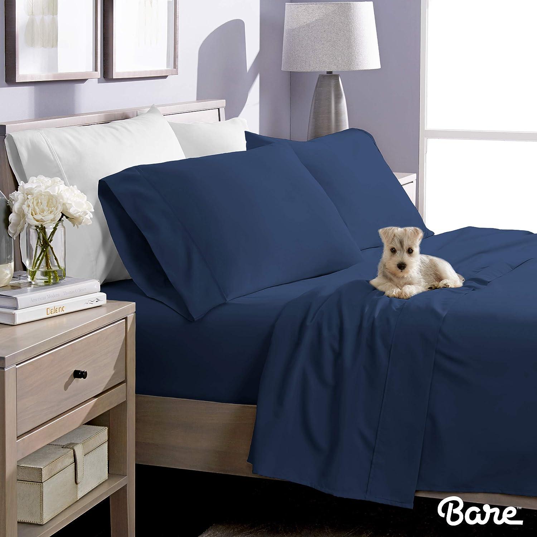 Wrinkle Resistant Hypoallergenic 1800 Ultra-Soft Microfiber Bed Sheets King, Dark Blue Bare Home King Sheet Set Double Brushed Breathable Bedding Deep Pocket