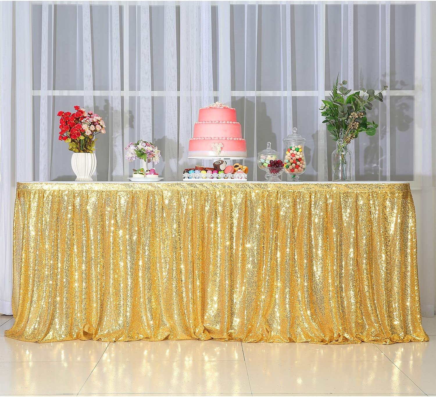 Spakly Draped 6ft wide x 30 inches drop Gold Table Skirt for Birthday Party Baby Shower Dessert Table Wedding Cake Table Exhibition Reception