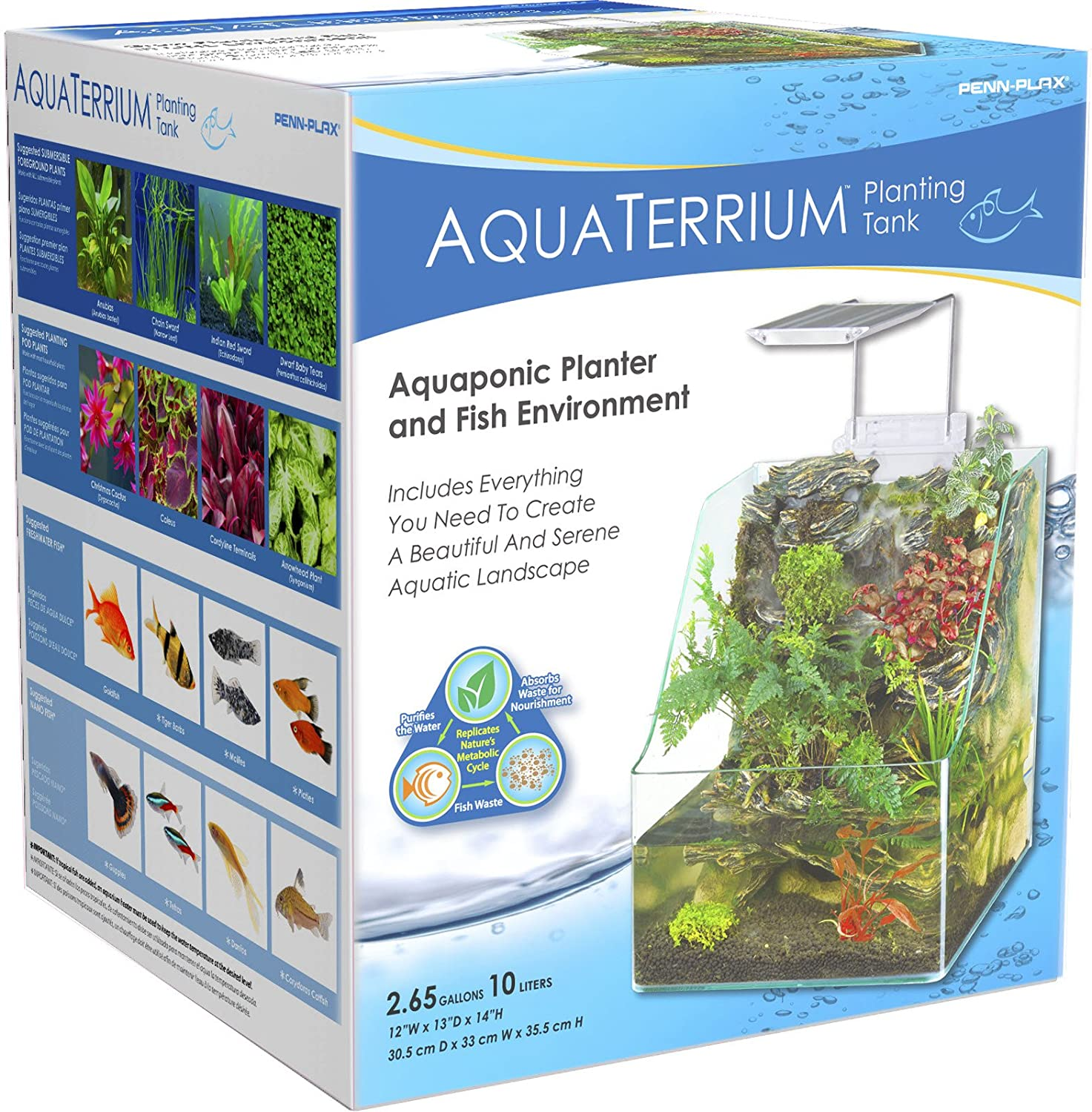 Penn Plax Presents The Aquaterrium 8 Gallon Planting 020316 Swarovski Elements Anting Tank Grow Plants And Fish In One Environment Large Pet Supplies