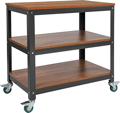 Flash Furniture Livingston Collection 30 W Rolling Storage Cart with Metal Wheels in Brown Oak Wood Grain Finish