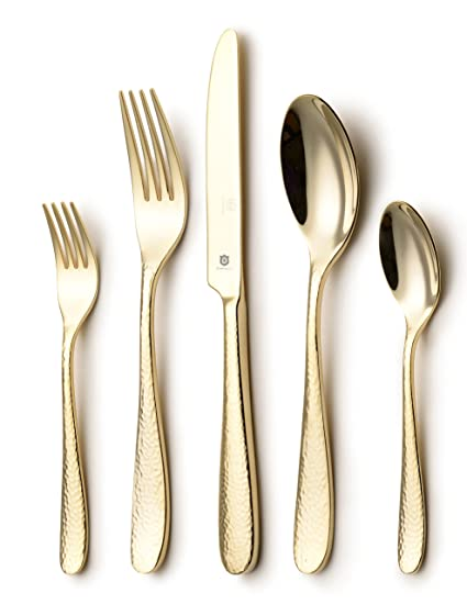 DANIALLI 5-Piece Entirely 24K Gold Plated Flatware Set Modern Hammered Design Silverware Set  sc 1 st  Amazon.com : gold plated cutlery set - pezcame.com