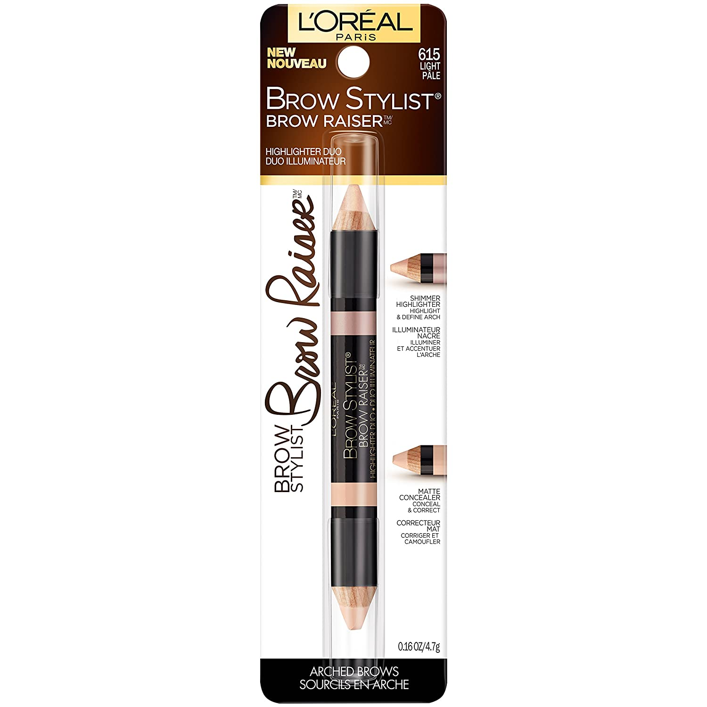 L'Oreal Paris Cosmetics Stylist Brow Raiser Highlighter Duo, Light, 0.16 Ounce