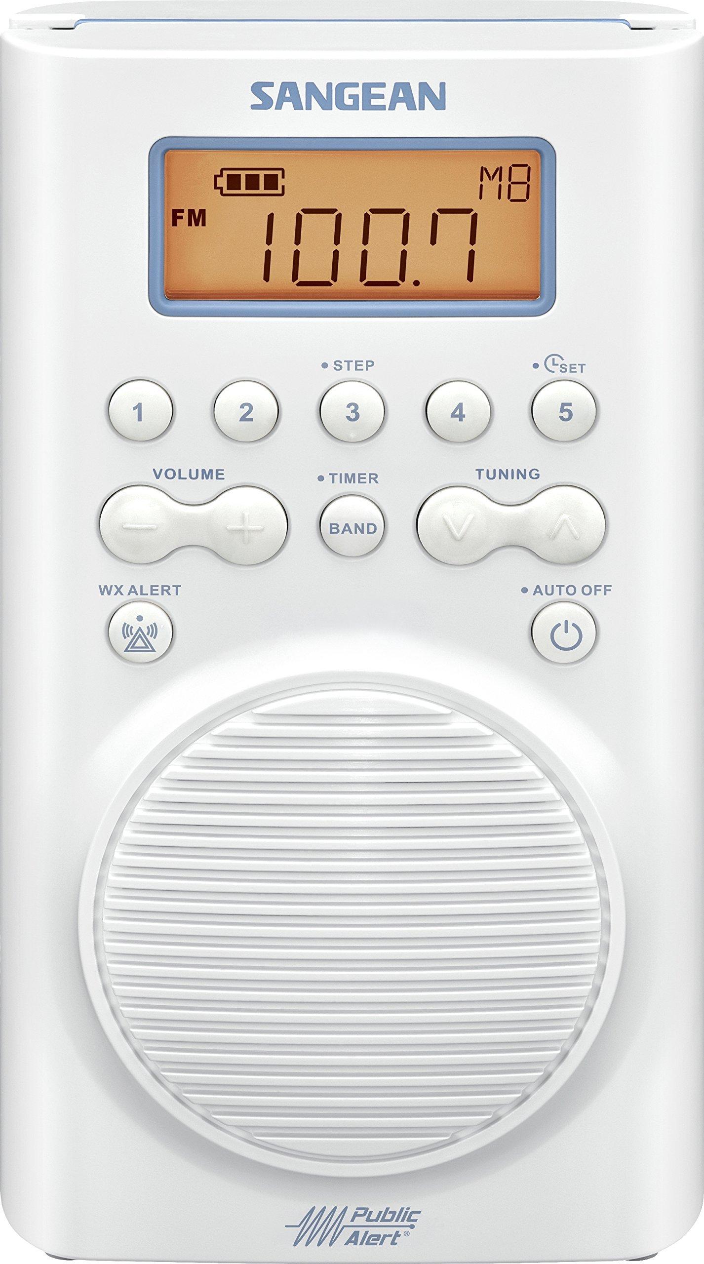 Sangean H205 AM/FM Weather Alert Waterproof Shower Radio (Certified Refurbished)