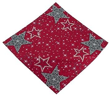 Raebel Tischdecke Rot Grau Stickerei Sternenmotiv Weihnachten