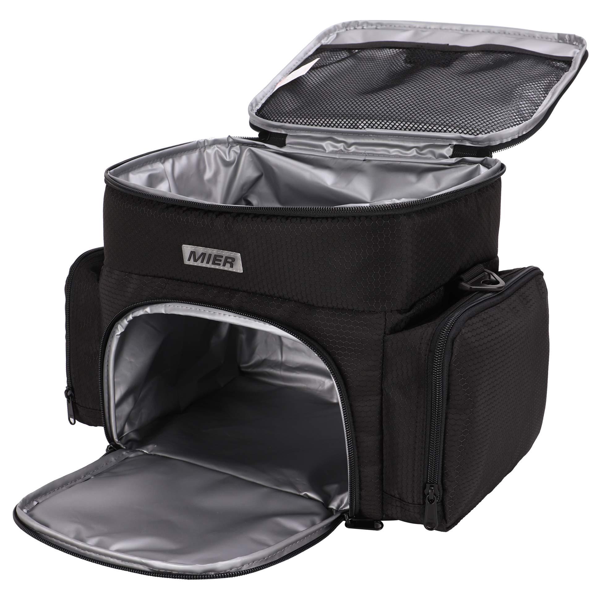 MIER 2 Compartment Lunch Bag Insulated Cooler Bag Meal Prep Bag for Men, Women, Adult, Black