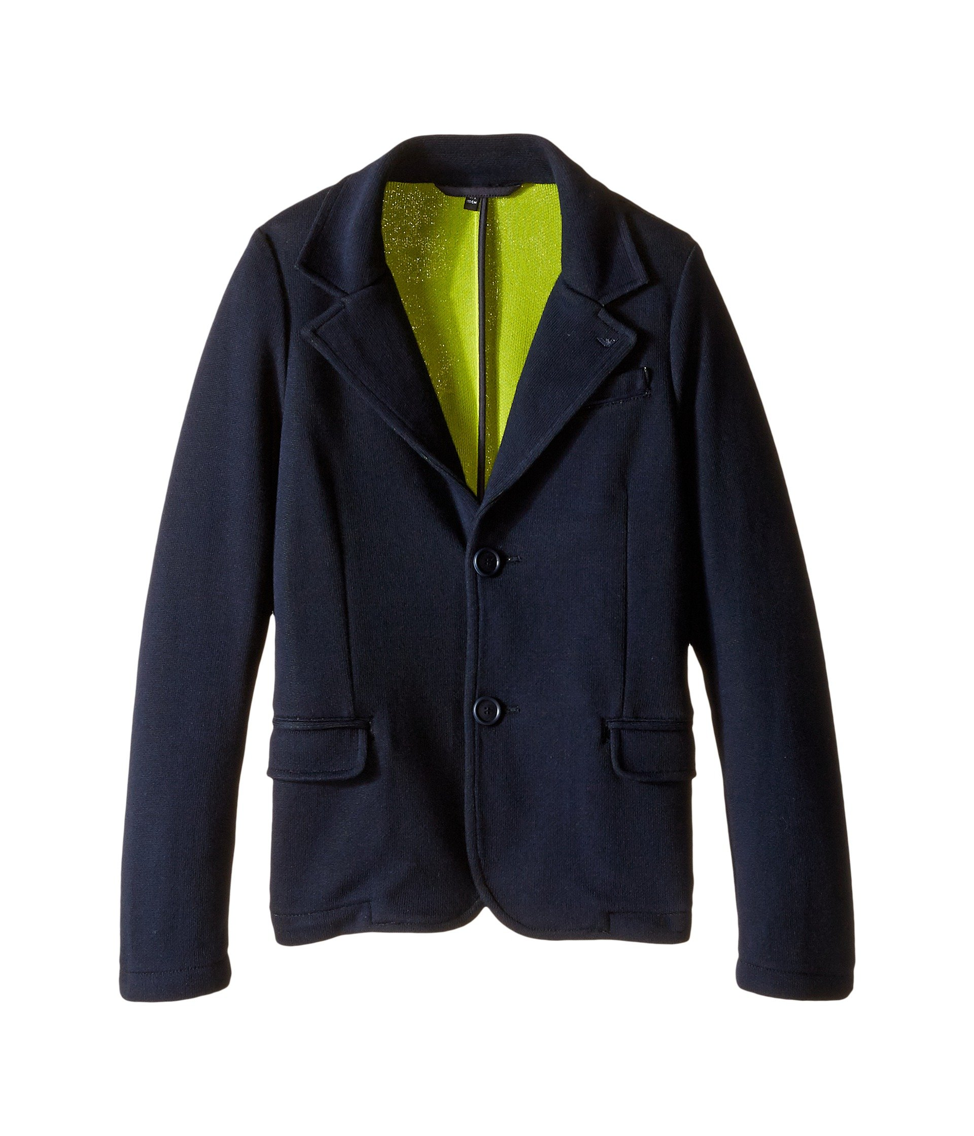 Armani Junior Boys' Blazer with Lime Detail (Toddler/Little), Navy, 8 Big Kids