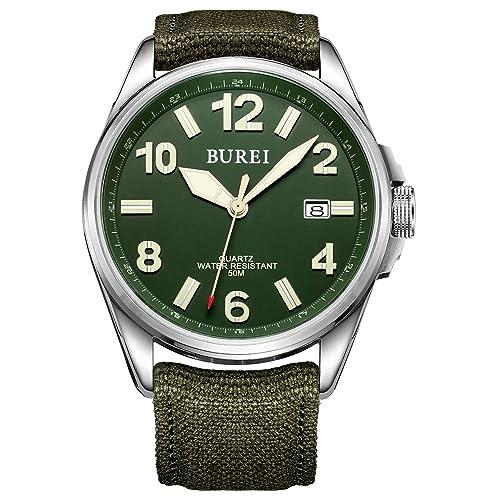 Burei Unisex Militäruhr mit Datumsanzeige grünem Ziffernblatt und Grünem Canvas Armband