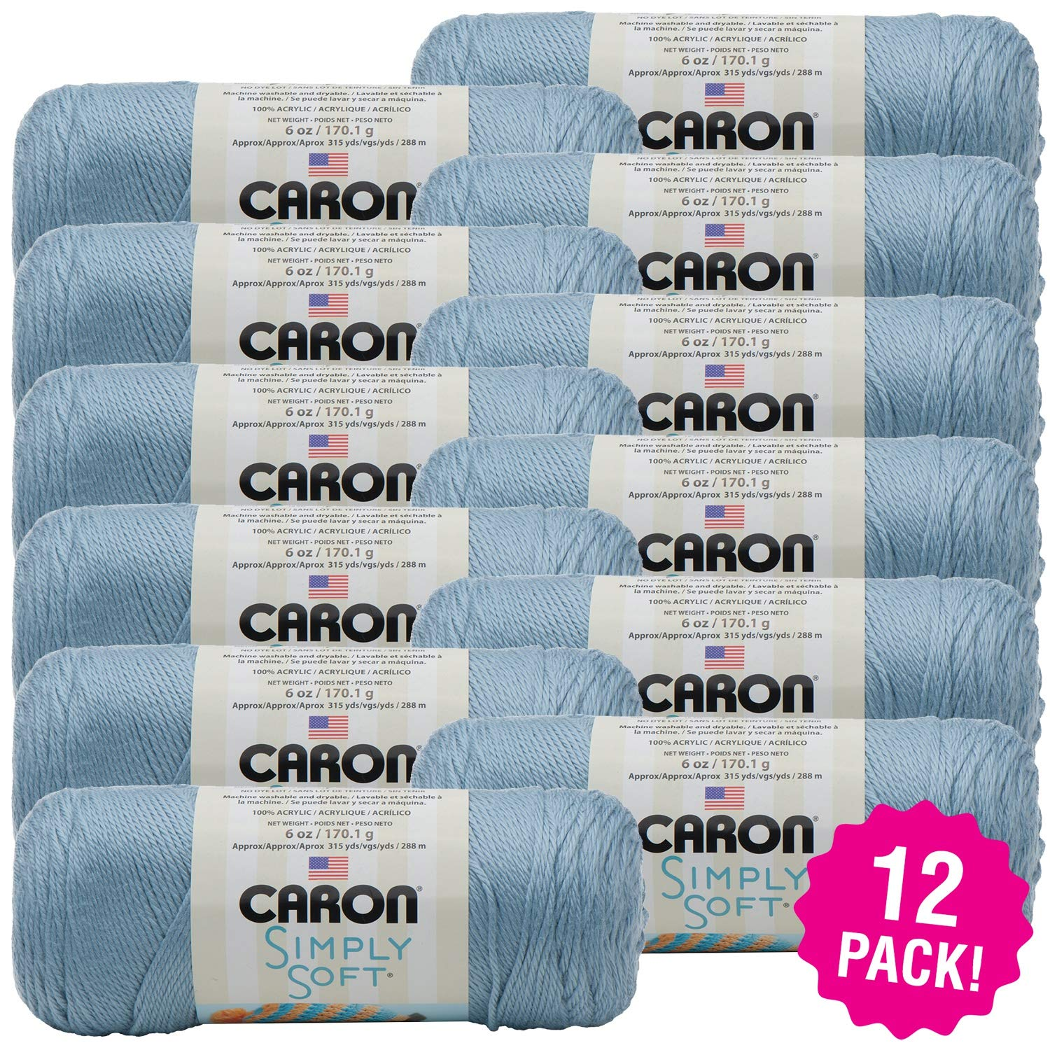 Caron 98082 Simply Soft Solids Yarn-Light Country Blue, Multipack of 12, Pack