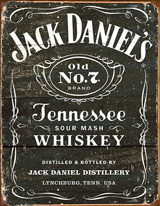 New Tin Sign Made in USA Jack Daniels Tennessee Sour Mash Whiskey Emblem
