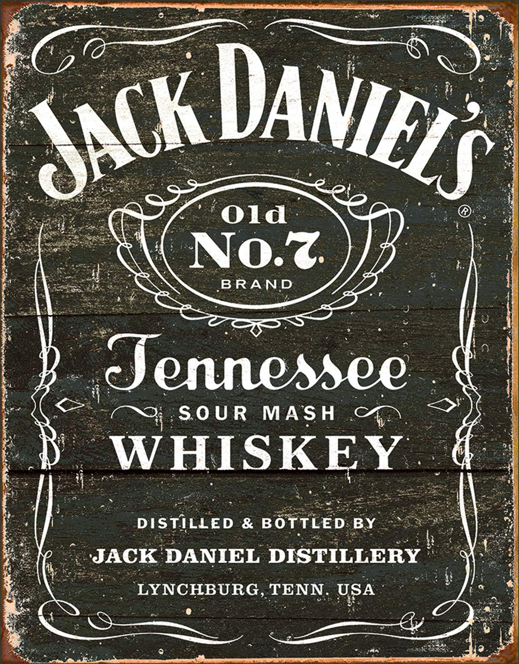 "Desperate Enterprises Jack Daniel's Tennessee Whiskey - Weathered Logo Tin Sign, 12.5"" W x 16"" H"