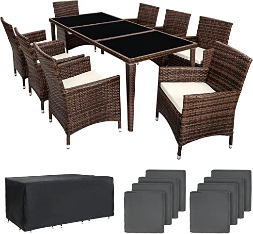 TecTake - Conjunto de muebles de jardín en aluminio y resina trenzada polirratán, incluye mesa, 8 sillas,