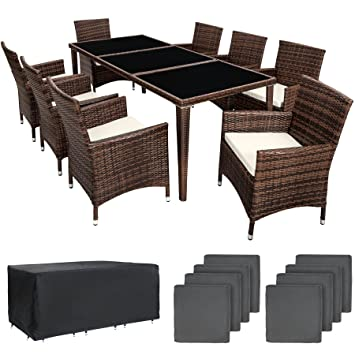 TecTake Conjunto muebles de jardín en aluminio y poly ratan 8+1 con set de fundas intercambiables + Protección contra lluvia - disponible en ...