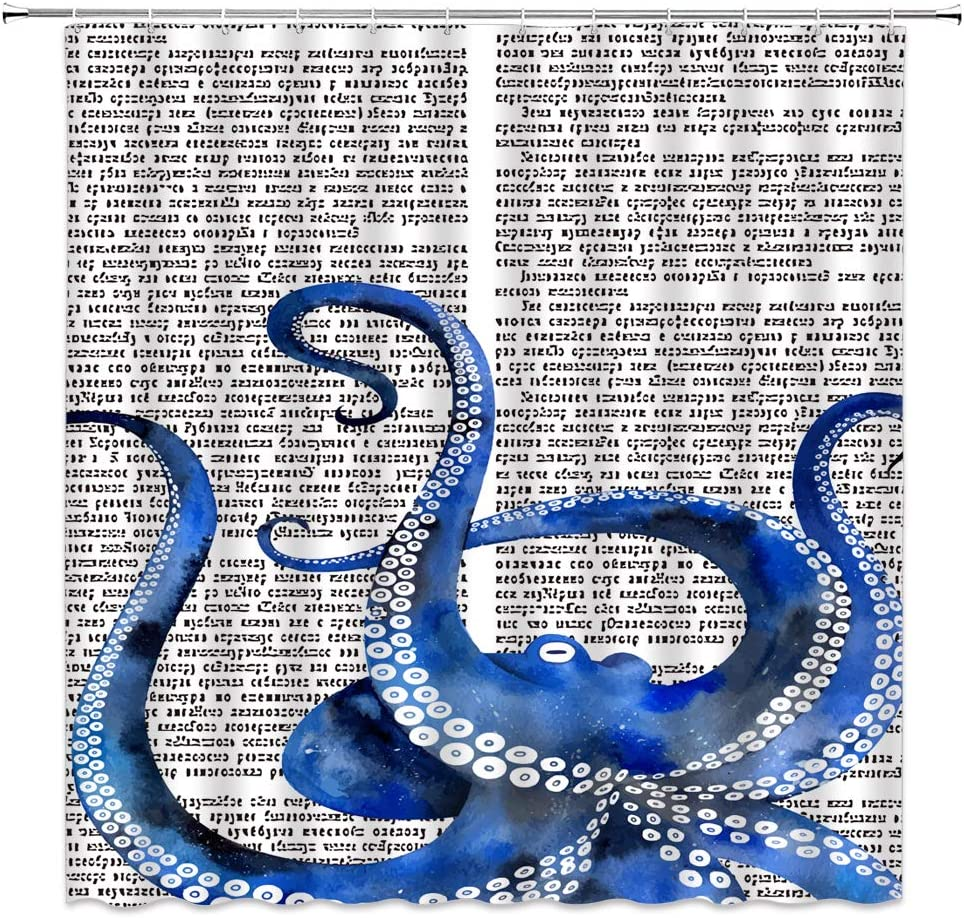 Blue Octopus Shower Curtain ,Octopus Tentacles Kraken Ocean Sea Monster Vintage Newpaper Black Blue Bathroom Curtains Decor Polyester Fabric Quick Drying 70x70 Inches Include Hooks