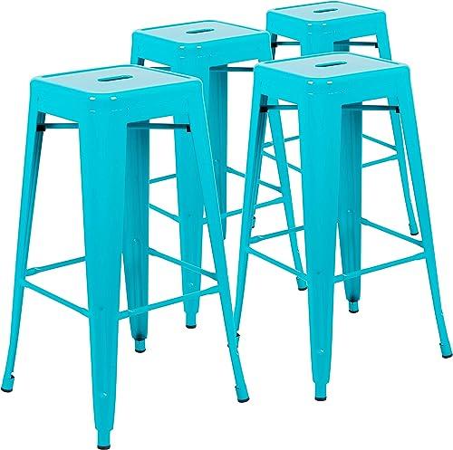 Flash Furniture 30 High Metal Indoor Bar Stool in Teal – Stackable Set of 4