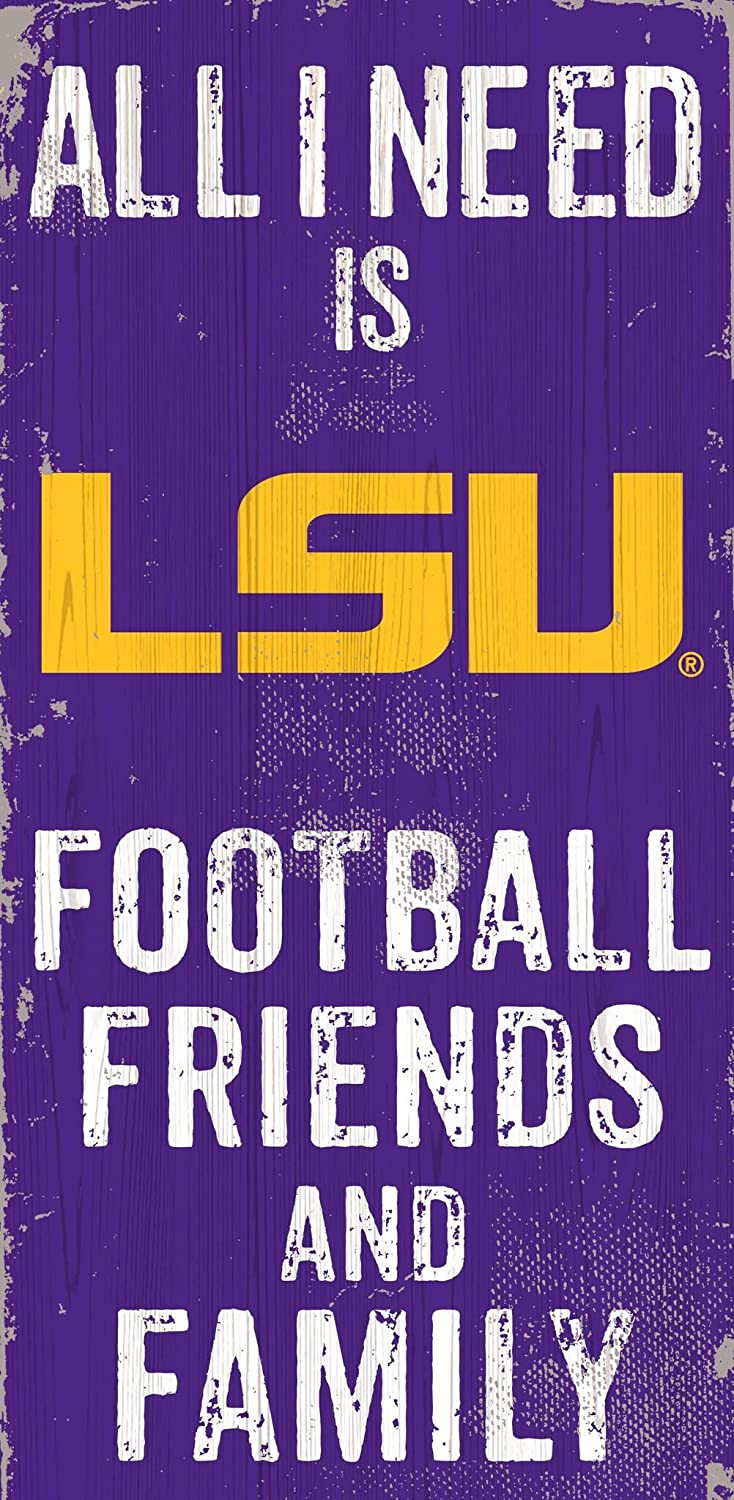 "Fan Creations NCAA LSU Tigers 6"" x 12"" All I Need is Football, Friends, and Family Wood Sign"