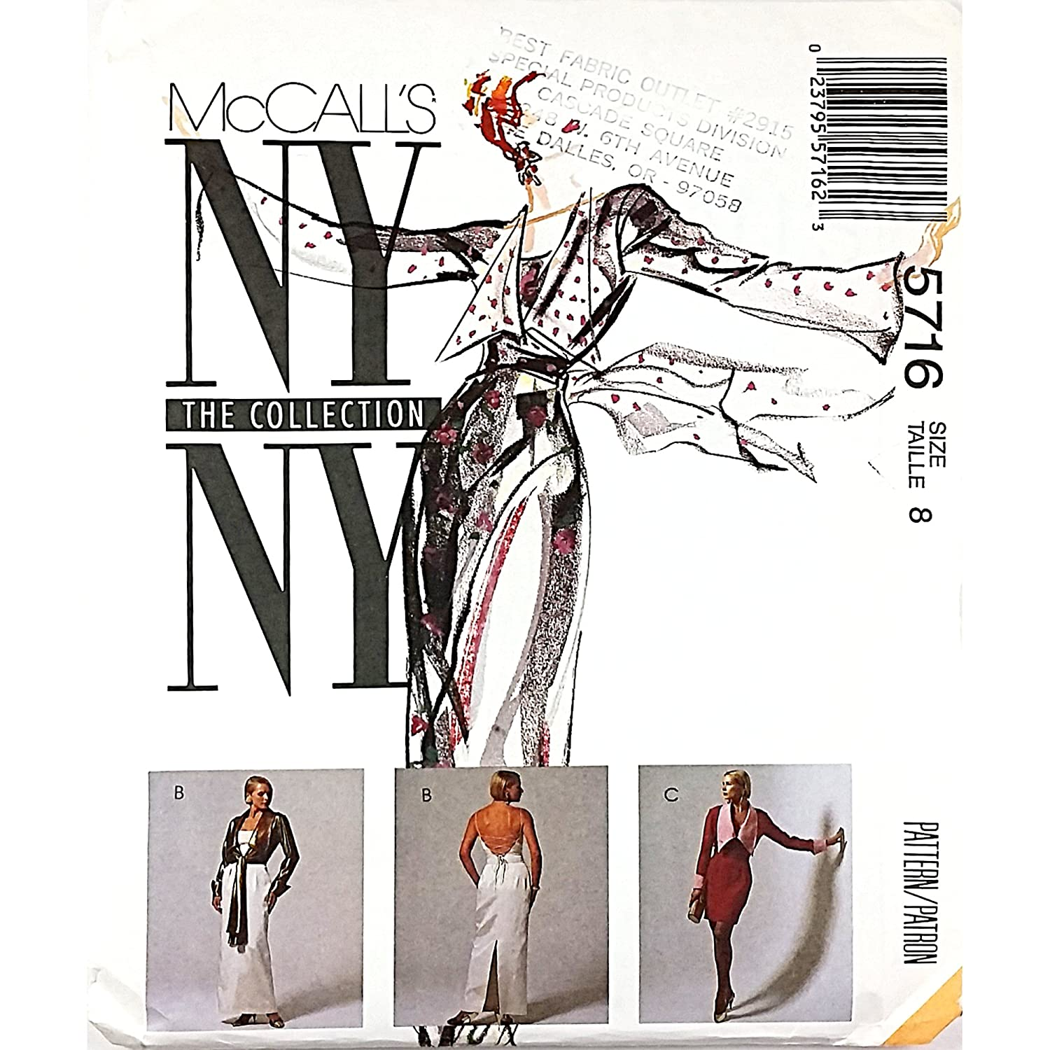 Amazon.com: McCalls The NY Collection 5716 Misses Unlined Wrap Jacket and Dress in Two Lengths Size 8: Arts, Crafts & Sewing