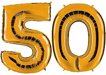 Globo de oro 50 - XXL gran número 100 cm - 50TH - Party regalo de cumpleaños para globo chimbomba feliz cumpleaños Decoración