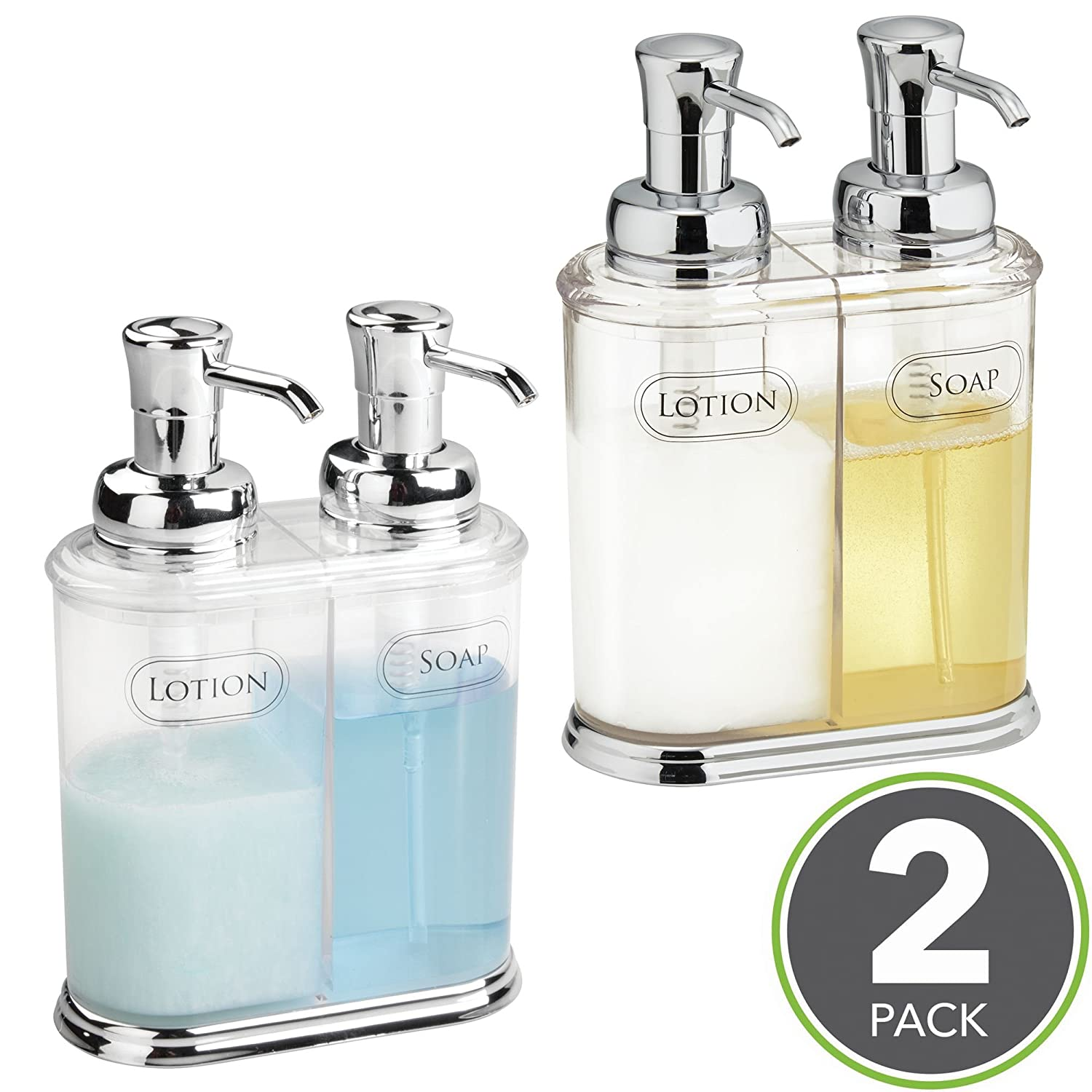 mDesign Refillable Soap Dispenser Duo - Double Pump Soap Dispenser - Hand Wash Dispenser - Made of Plastic with Chrome Pump Head - Approx. 350 ml Capacity - for Kitchens & Bathrooms - Pack of 2 MetroDecor