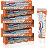 Aquafresh Extreme Clean Whitening Action Fluoride Toothpaste for Cavity Protection, pack of 6 tubes 5.6 oz each