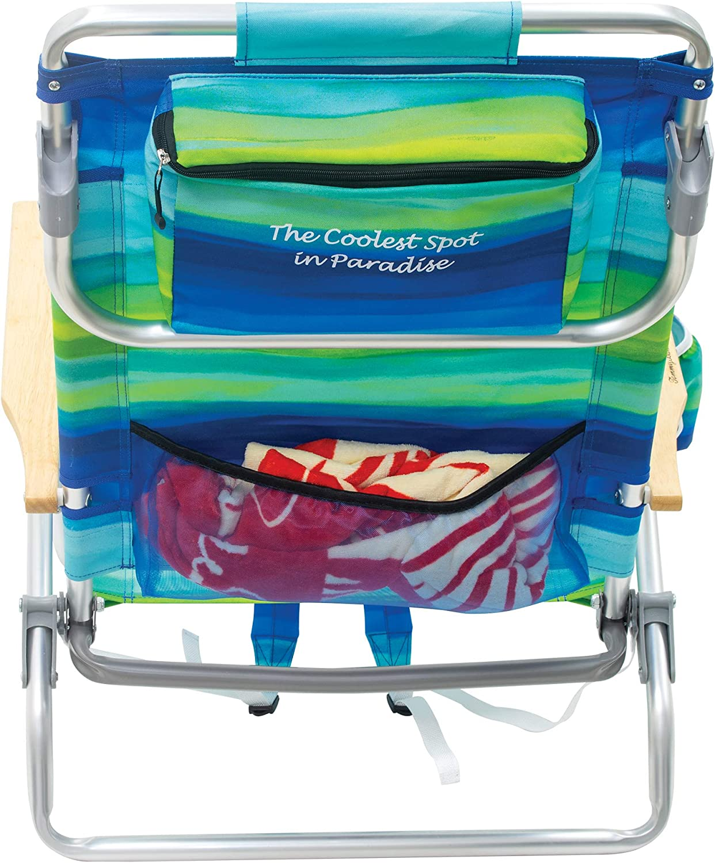 poli/éster Rayas Azul//Verde 23 x 25.25 x 31.5 Tommy Bahama 5-Position Classic Lay Flat Folding Backpack Beach Chair Mochila Silla Playa