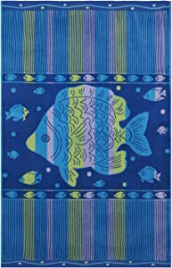 Espalma Oversized Luxury Tropical Angel Fish Stripe Beach Towel, Large Size 70 Inch x 40 Inch Soft Velour and Reversible Absorbent Cotton Terry, Thick and Plush Jacquard Beach Towel, Angel Fish