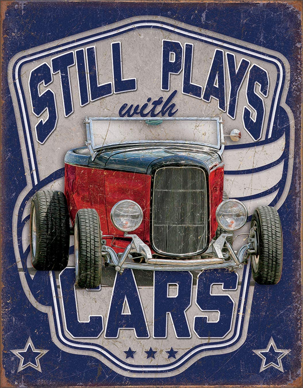 """Desperate Enterprises Still Plays with Cars Tin Sign, 12.5"""" W x 16"""" H"""