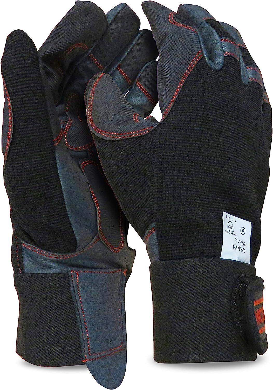 Oregon 295395 Scientific elásticas de protección Guantes de Cuero 4 direcciones para el Trabajo con Motosierra Talla L, Large
