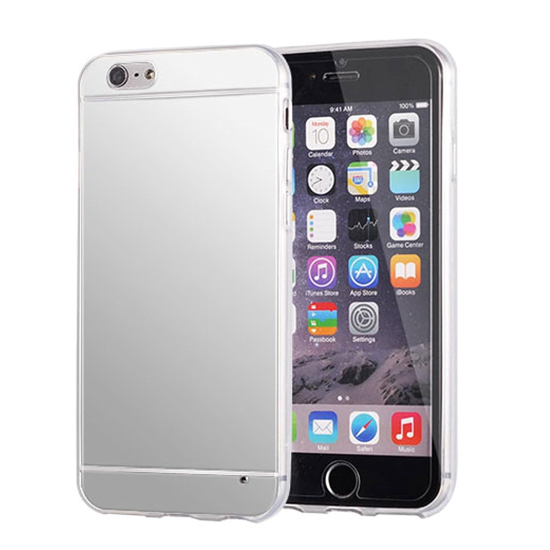 iPhone 7ミラーケース、高級ミラーバック衝撃吸収、明るい反射、iPhone 7用の傷防止ブリンブリン - シルバー   B076G1TFZR