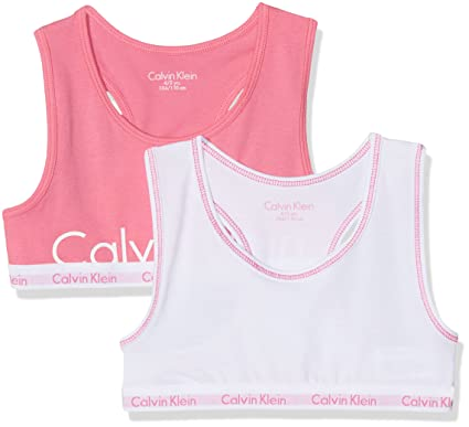 ef1ef793dc7a0 Calvin Klein Girl s Modern Cotton (lg) 2 Pack Bralette Print Lingerie Set