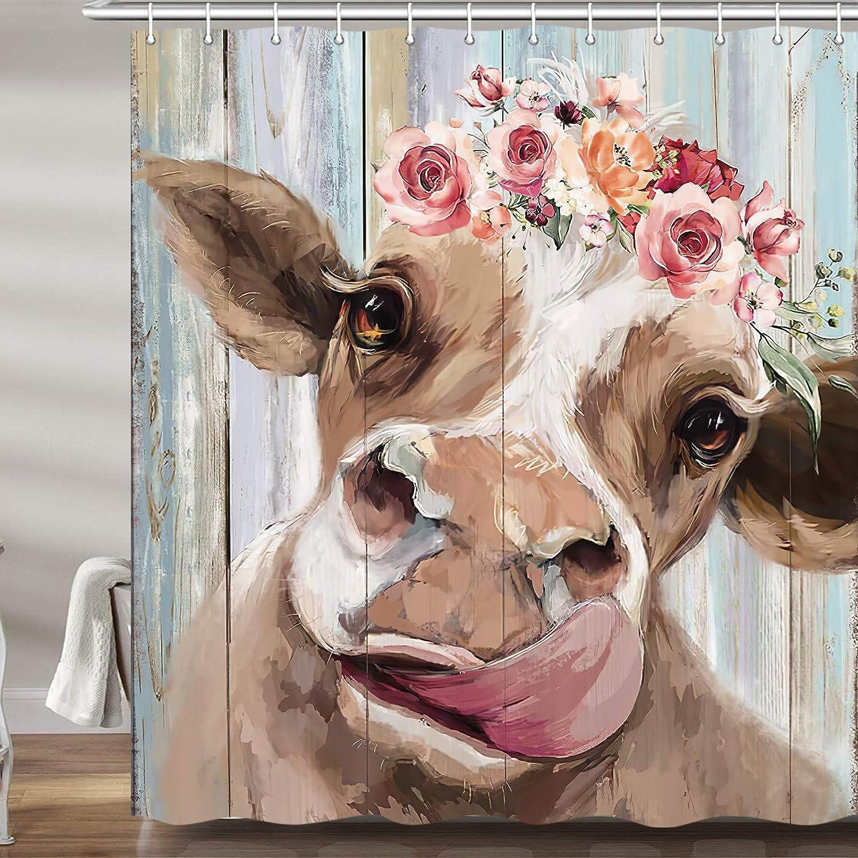 Farmhouse Cow Shower Curtain for Bathroom, Cute Rustic Farm Animals on Wood Fabric Shower Curtains Set, Funny Country Barn Door Bathroom Accessories Decor, Hooks Included 72 x 72Inch