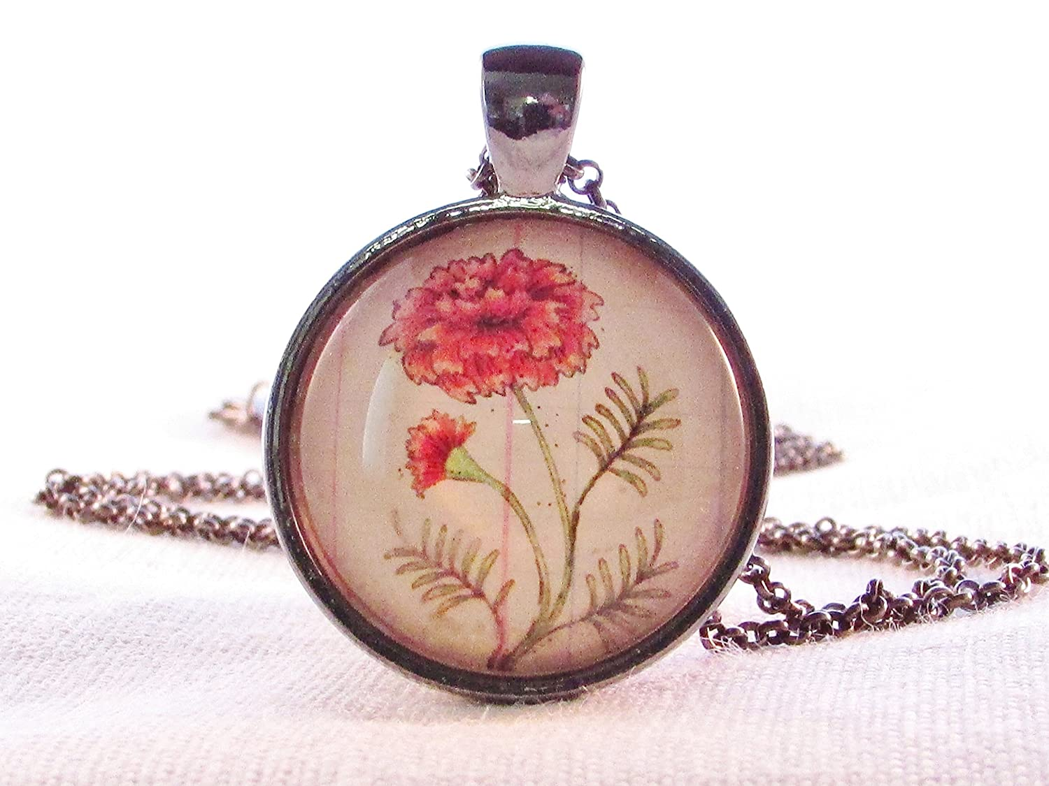 Necklace Round Glass Pendant Birthday Month October Flower Marigold