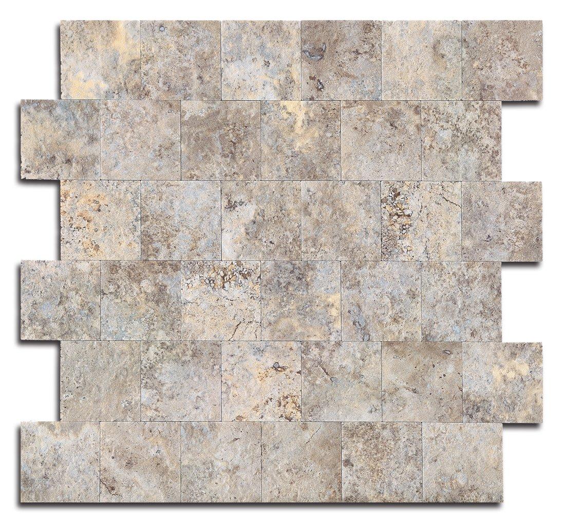 Yipscazo Peel and Stick Tile Backsplash, PVC Ecru Slate Backsplash Stone Tile for Kitchen Peel and Stick (12'' X 12'', 5 Sheet) by Yipscazo